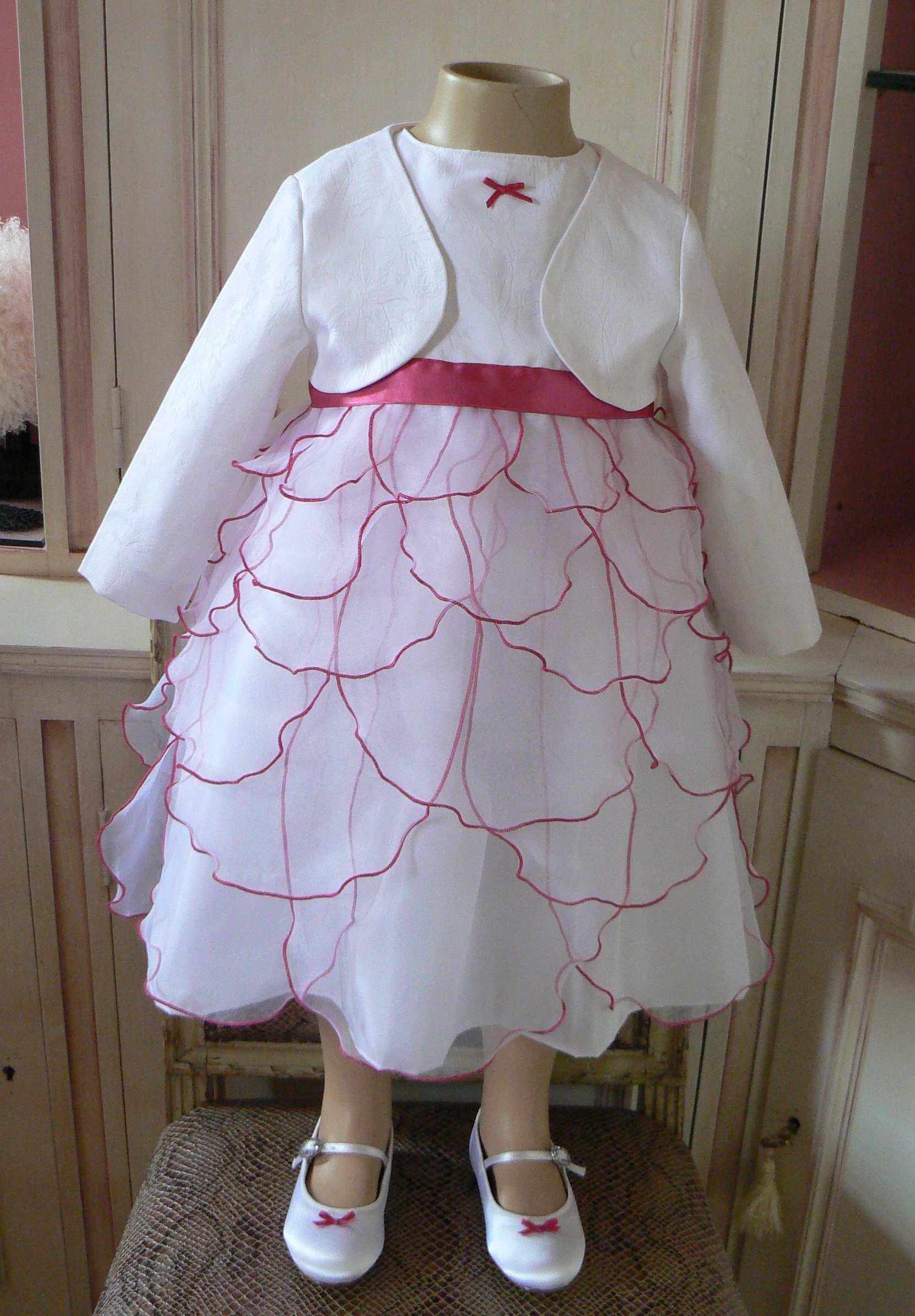 robe mariage enfant blanc fushia chaussure marjorie g création vendée robe de mariée