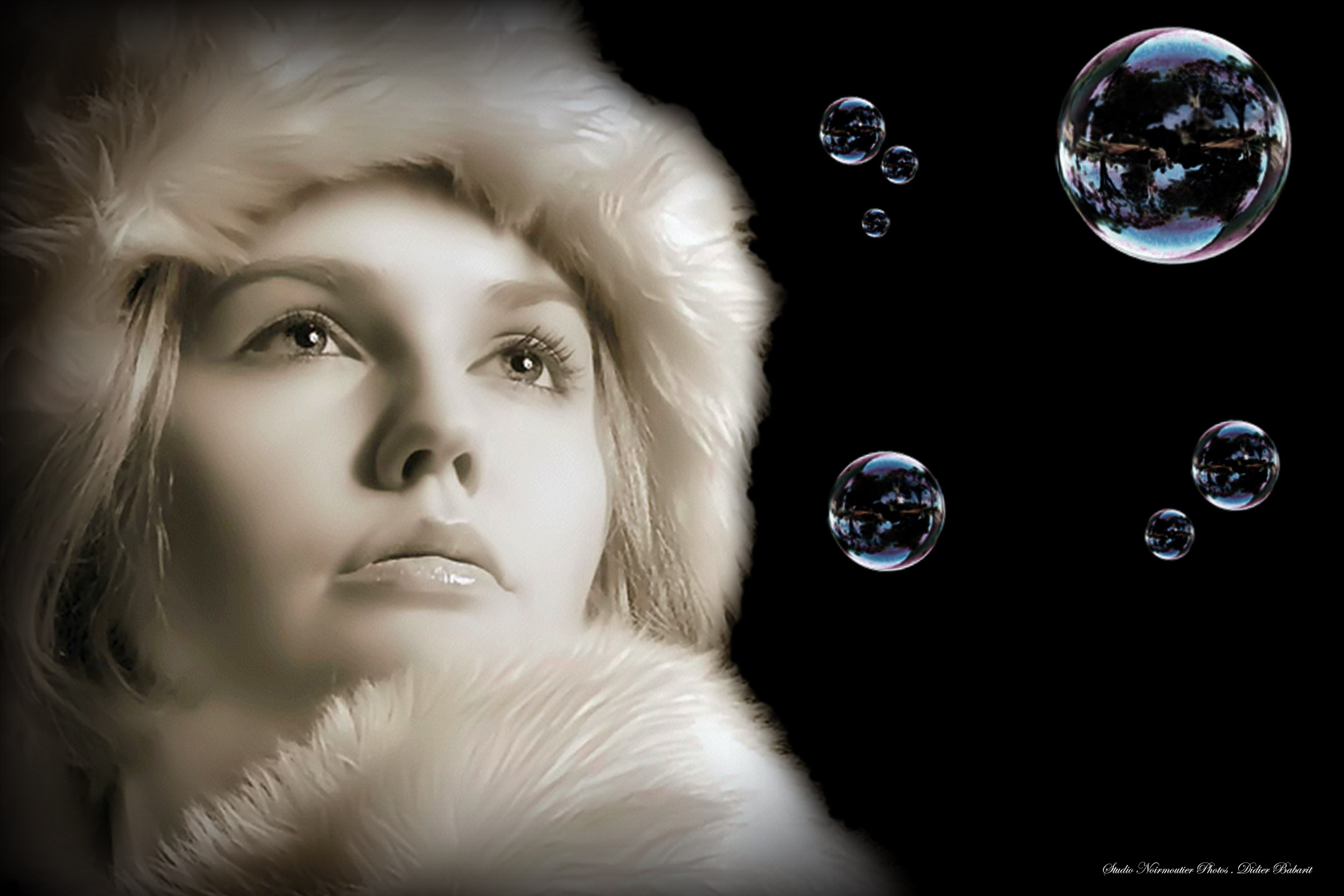 Modele femme manteau fourrure fractale bulles savon